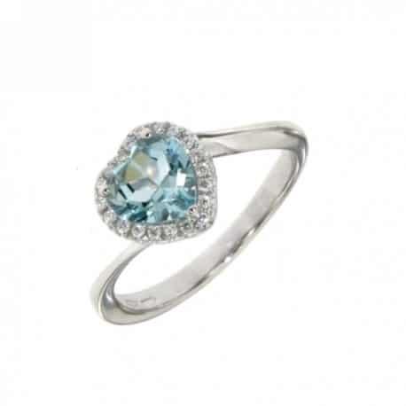 anello donna in oro bianco cuore acquamarina e brillanti mirco visconti