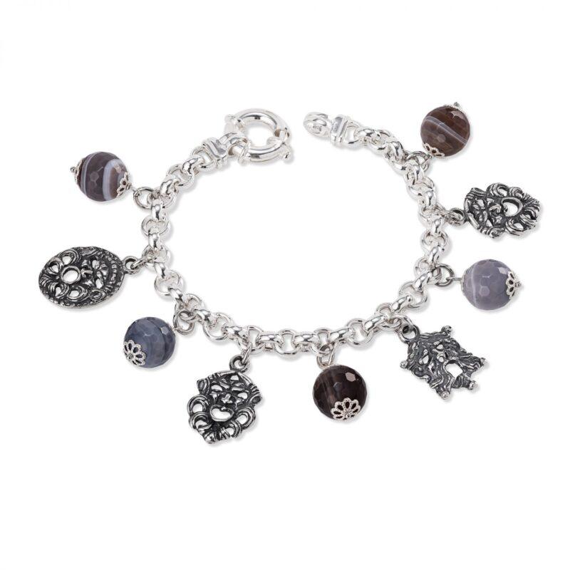 bracciale in argento con pietre colorate e maschere 33687 1