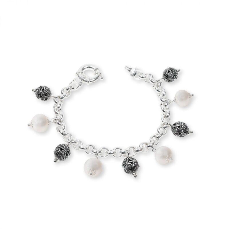 bracciale in argento con perle e sinacoli 33133pb