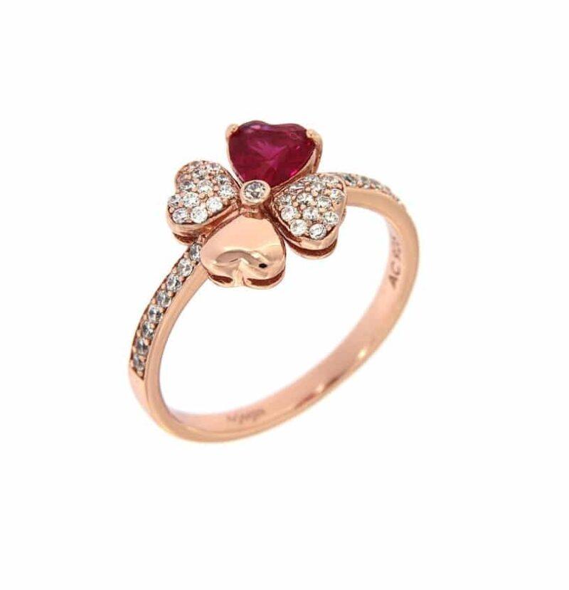 anello quadricuore amen argento 925 rose zirconi rubino