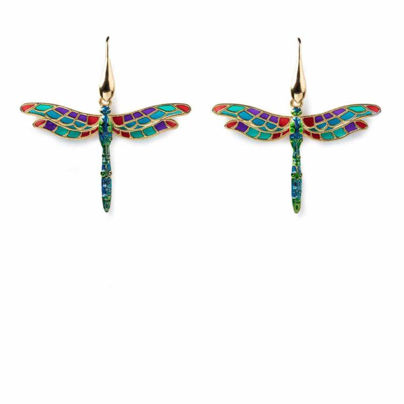 orecchini con pendente libellula oro1