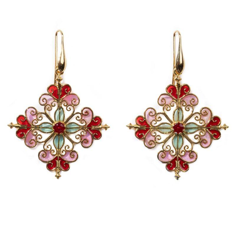 orecchini rosone rosa quadrato balconi di sicilia isola bella gioielli 1200x1200 1
