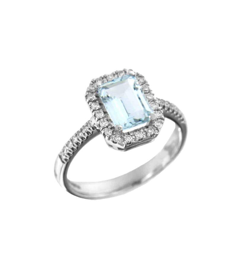 anello davite delucchi donna in oro bianco con diamanti e acquamarina