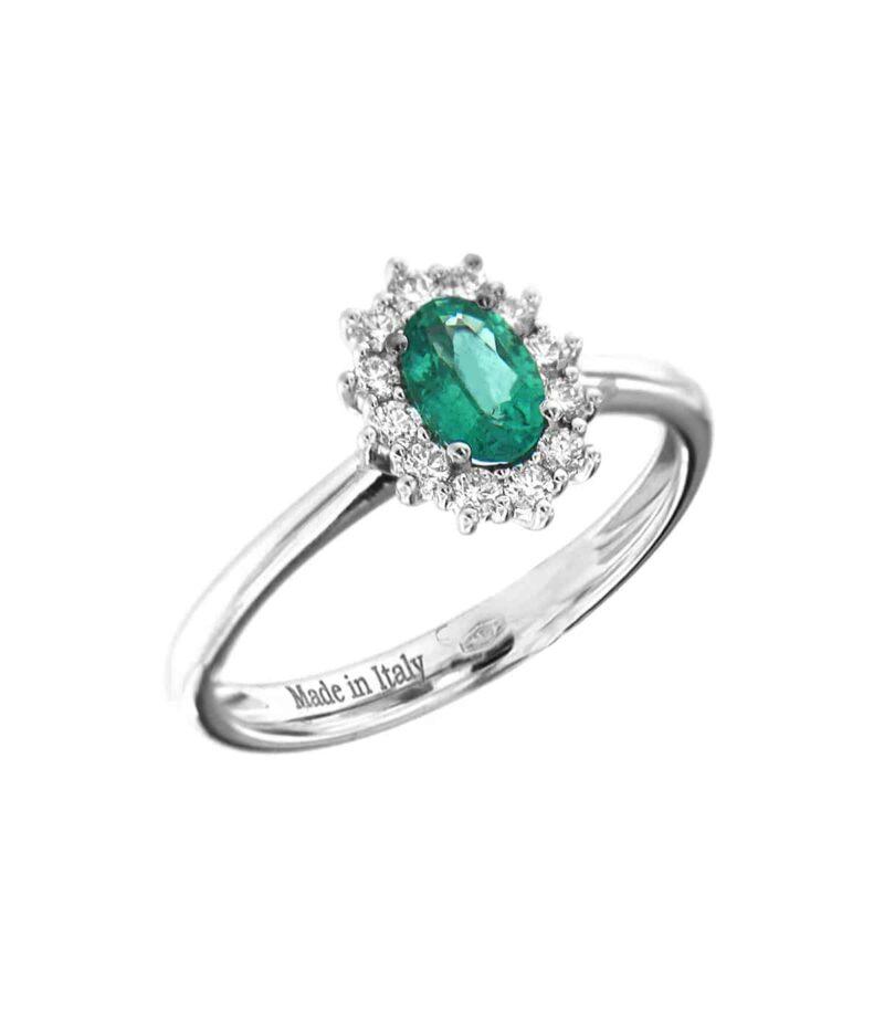 anello davite delucchi donna rosetta in oro bianco con diamanti e smeraldo