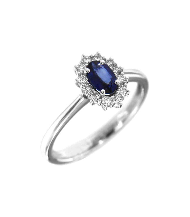 anello davite delucchi donna rosetta in oro bianco con diamanti e zaffiro