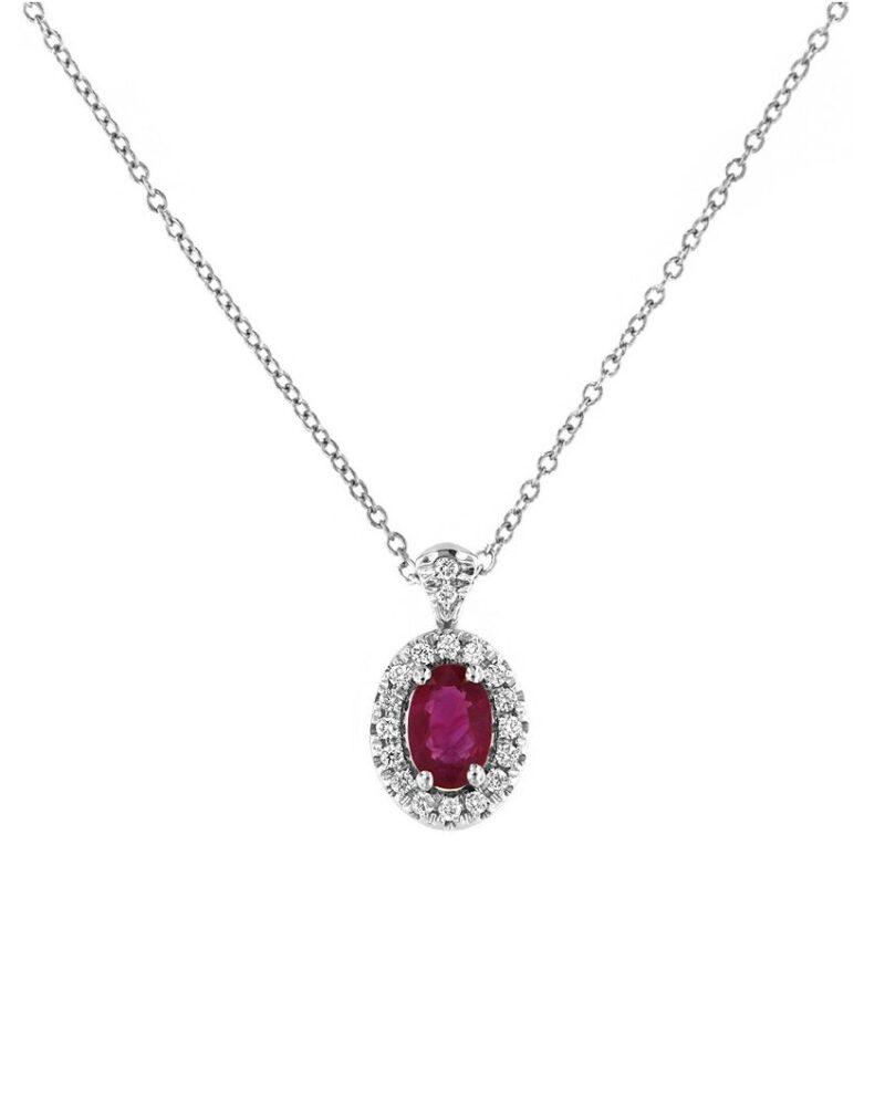 collana davite delucchi donna in oro bianco con diamanti e rubino 1 e1617953974528