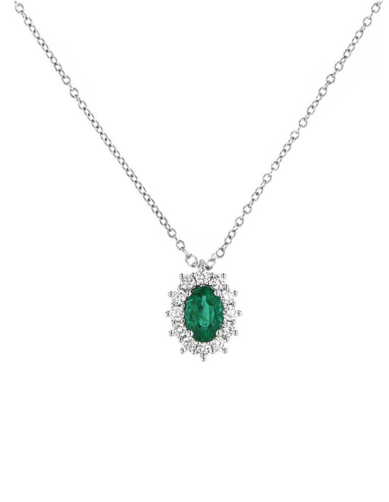 collana davite delucchi donna in oro bianco con diamanti e smeraldo 1 e1617954634651