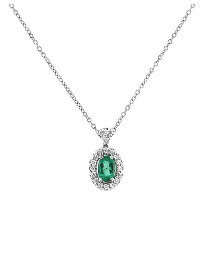 collana davite delucchi donna in oro bianco con diamanti e smeraldo e1617810922147