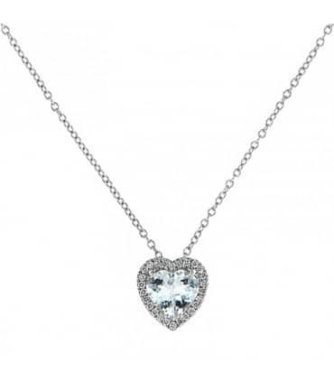 collana davite delucchi donna in oro bianco cuore con diamanti e acquamarina