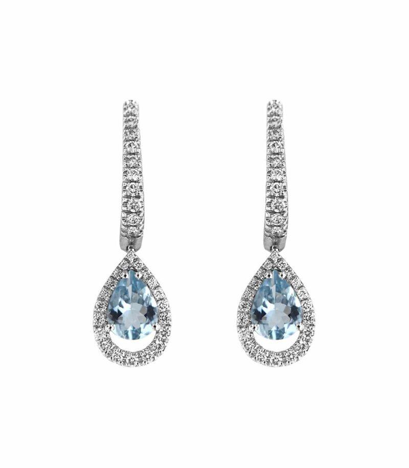orecchini davite delucchi donna in oro bianco goccia con diamanti e acquamarina